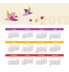 Calendar 2017 with bird Week Starts Sunday vector