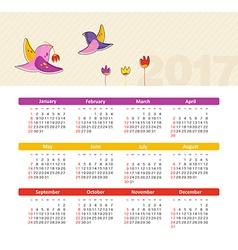 Calendar 2017 with bird Week Starts Sunday vector