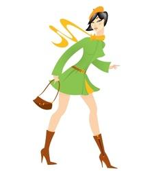 Cartoon girl green coat vector image