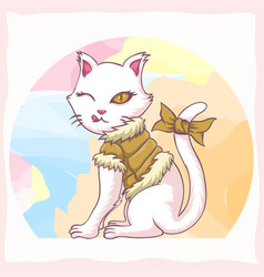 Cat youth girl vector