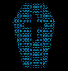 coffin composition icon of halftone bubbles vector image