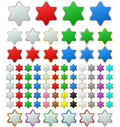 Color metallic star button set vector
