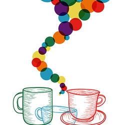 Colorful coffee set concept vector image