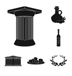 Country greece black icons in set collection for vector
