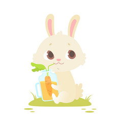Cute baby bunny sitting on a green grass vector