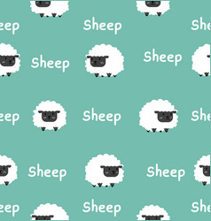 cute black little sheep seamless pattern vector image