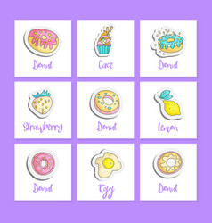cute cartoon food square cards with english text vector image