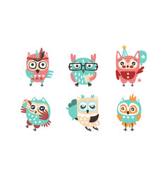cute owls collection adorable funny colorful vector image