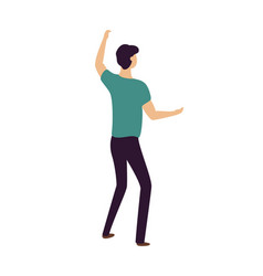 dancing man raising hands up clubber on party vector image