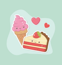 Delicious and sweet ice cream and products kawaii vector