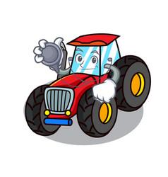 Doctor tractor character cartoon style vector