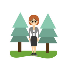 Elegant woman wearing glasses and pine trees vector