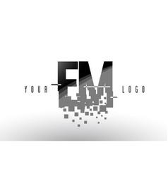 Em e m pixel letter logo with digital shattered vector