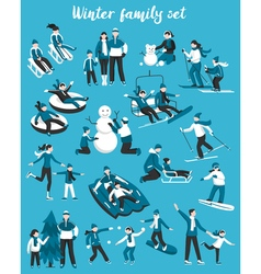 Family Winter Vacation Set vector image