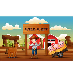 farm wild west background with cowboy and animals vector image
