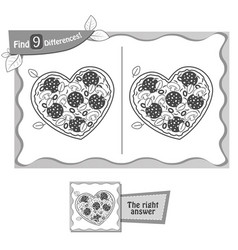 Find 9 differences game pizza heart black vector