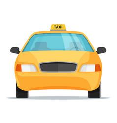 Flat design taxi car front view vector