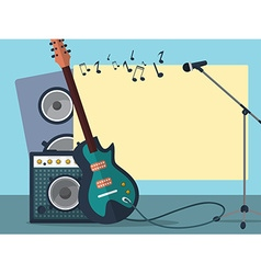Frame with a guitar combo amp microphone speaker vector