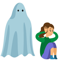 Girl covers ears from fright near monster ghost vector