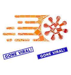 Gone viral mosaic and distress rectangle gone vector