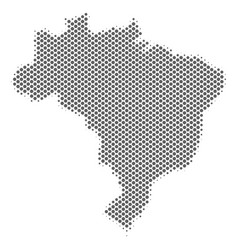 Halftone grey brazil map vector
