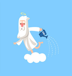 Happy bearded cartoon character of god on the vector