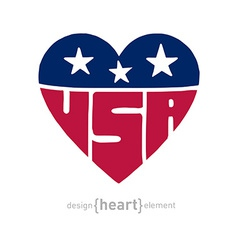 Heart with american flag colors symbols vector