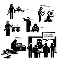 Hijacker terrorist airplane stick figure vector