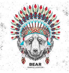 Hipster animal bear with indian feather headdress vector