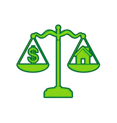 House and dollar symbol on scales lemon vector