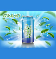 Ice tea label ads with green leaves on blue vector