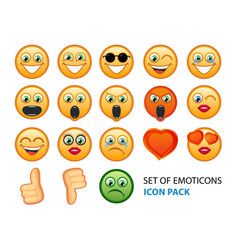 icon pack of emotion smiles on white background vector image