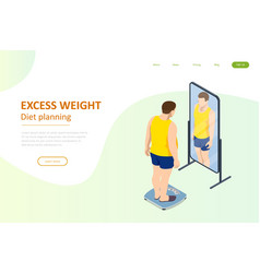 Isometric healthy food and diet planning fat man vector