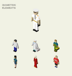 Isometric human set of male medic female and vector