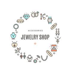 jewelry shop round design template contour lines vector image
