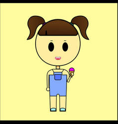 little girl eating a multicolored ice cream cone vector image