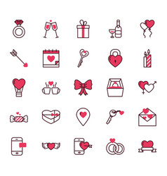 love and valentines day icon set design vector image