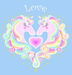 love male and female head a unicorn with a vector image