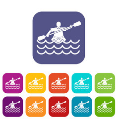 Male athlete in a canoe icons set vector
