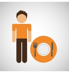 Male character traveler restaurant meal icon vector