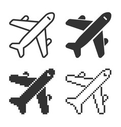 Monochromatic plane icon in different variants vector