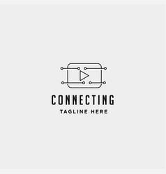 Music play internet logo design online media vector