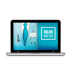 Online doctor consultation technology in laptop vector
