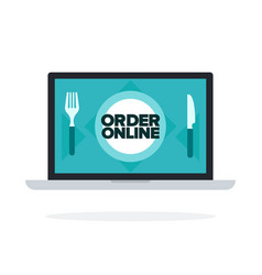 order food online flat isolated vector image