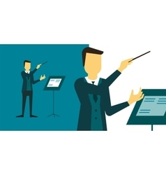 Person who directs the performance of orchestra or vector image