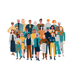 Portrait business team diverse people standing vector