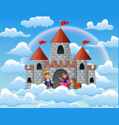 prince and princess in a fairytale palace on the c vector image