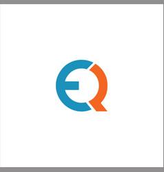 Q e letter logo design on black color background vector