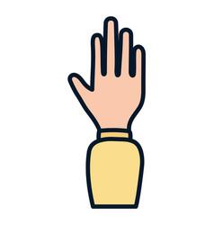 raised open human hand stop gesture icon design vector image