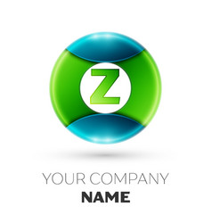 Realistic letter z logo symbol in colorful circle vector